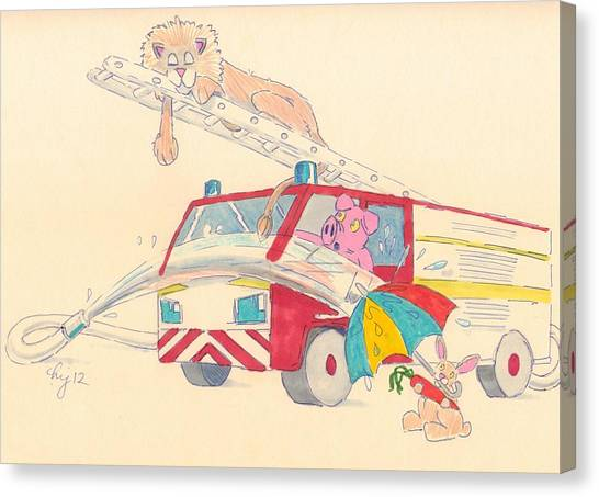 Cartoon Fire Engine And Animals Canvas Print