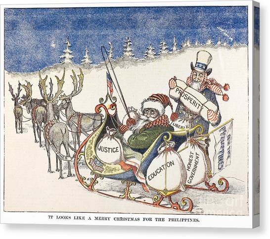 Sleds Canvas Print - Cartoon: Philippines, 1898 by Granger