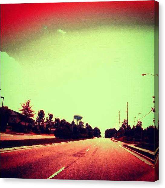 Edit Canvas Print - #cary #driving #sky #red #watertower by Katie Williams