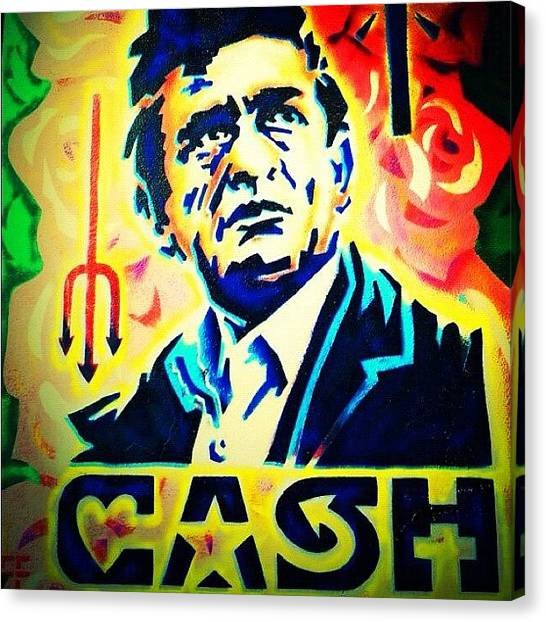 Johnny Cash Canvas Print - Cash by Tasha L