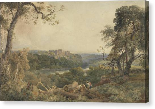 Woodsmen Canvas Print - Castle Above A River - Woodcutters In The Foreground by Peter de Wint
