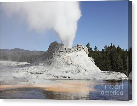 Yellowstone Caldera Canvas Print - Castle Geyser Steam Phase, Upper Geyser by Richard Roscoe