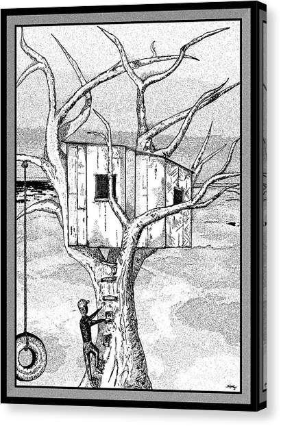 Pen And Ink Drawing Canvas Print - Castle In The Tree - A Childhood Dream by Glenn McCarthy Art and Photography