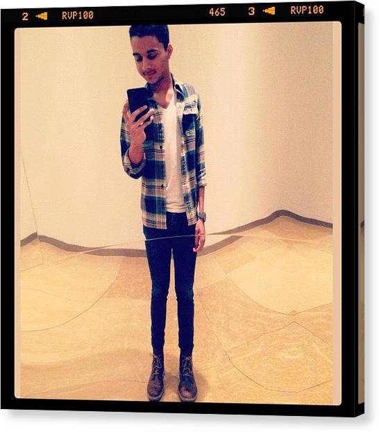 Flannel Canvas Print - Casual #selfies During Lunch... Lol by Bryan Vargas