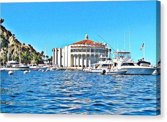 Catalina Casino View From A Boat Canvas Print by Lauren Serene