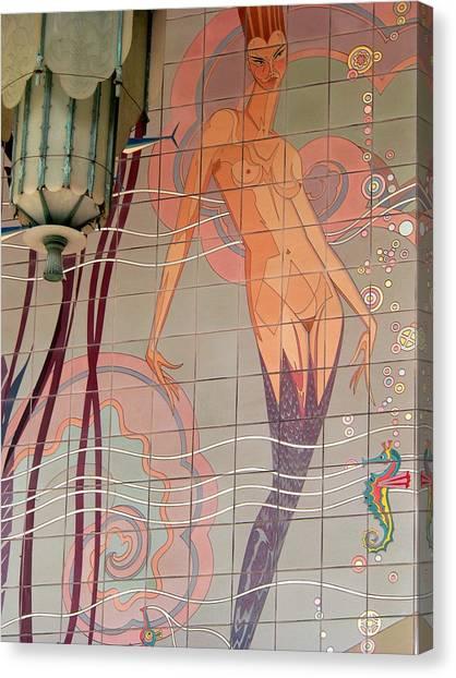 Catalina Tile Mermaid And Lamp Canvas Print