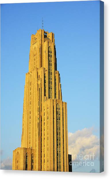 University Of Pittsburgh Canvas Print - Cathedral Of Learning In Evening Light by Thomas R Fletcher