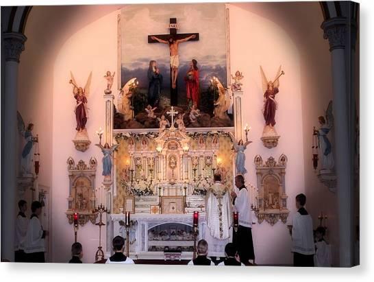Catholic Mass Canvas Print by Myrna Migala