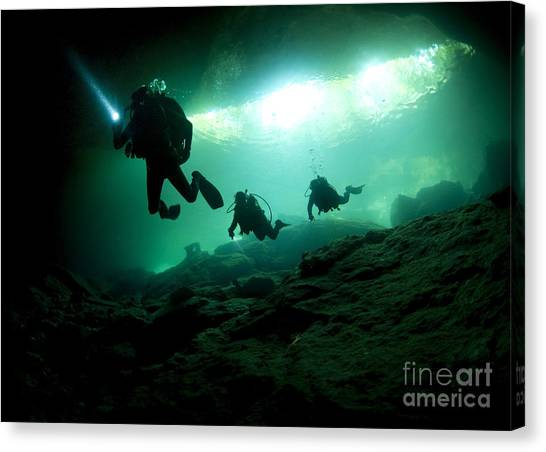 Spelunking Canvas Print - Cavern Divers Enter Cenote System by Karen Doody
