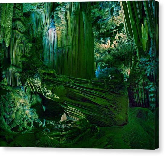 Spelunking Canvas Print - Cavern Of The Green by Wade Aiken