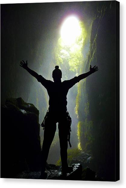 Caving At Last Canvas Print