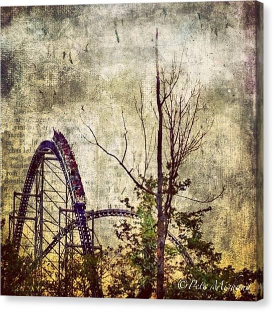 #cedarpoint #rollercoaster #ohio Canvas Print by Pete Michaud