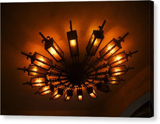 Ceiling Light At One O Clcok Canvas Print by Dietrich Sauer