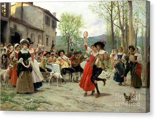 Tambourines Canvas Print - Celebration by William Henry Hunt