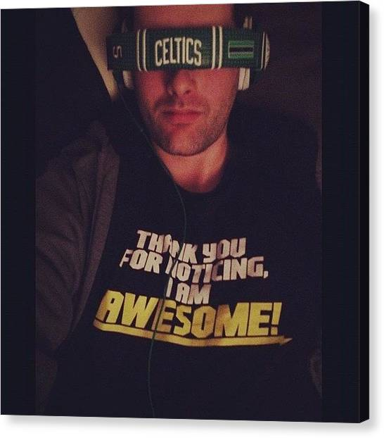 Basketball Teams Canvas Print - #celtics #headphones #music by Mark Weldon