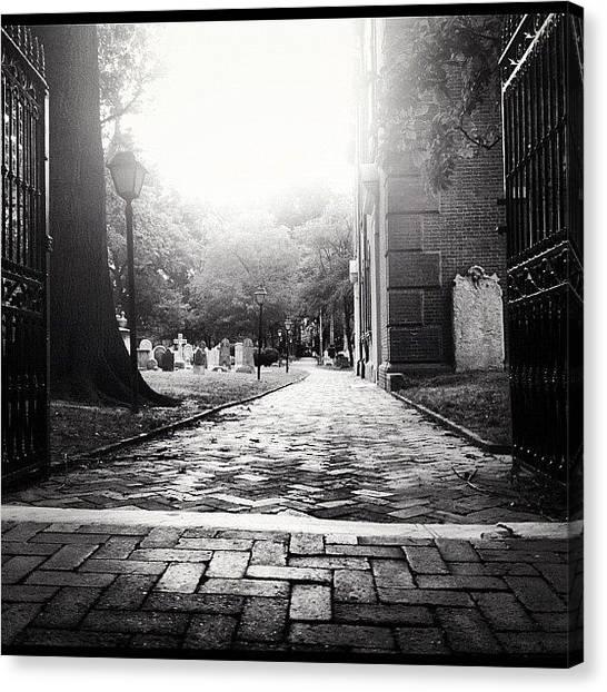 Philadelphia Canvas Print - #cemetery #gates #brick #trees #grass by Elizabeth DeMartino