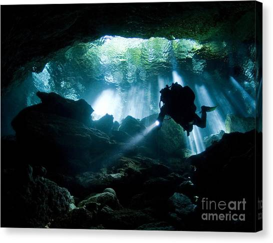 Underwater Caves Canvas Print - Cenote Diver Enters Taj Mahal Cavern by Karen Doody