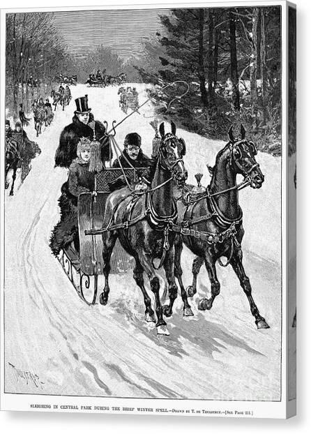 Sleds Canvas Print - Central Park, 1890 by Granger