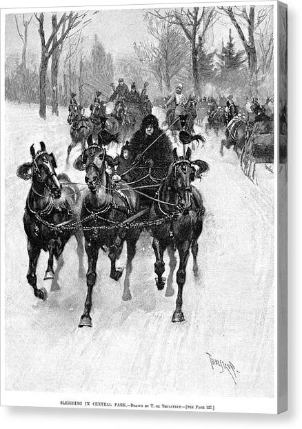 Sleds Canvas Print - Central Park, 1893 by Granger