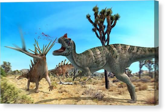 Ceratosaurus And Dacentrurus, Artwork Canvas Print by Jose Antonio PeÑas