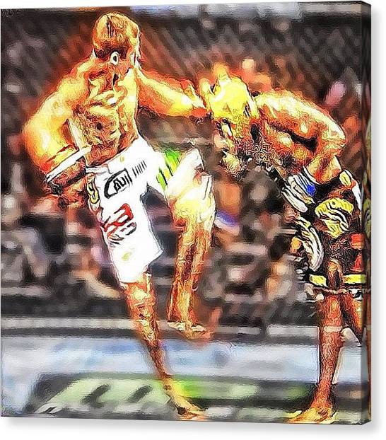Ufc Canvas Print - Cerrone Blasts Guillard With A Kick To by Houshang Livian
