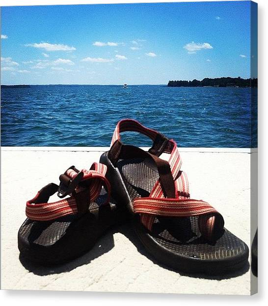 Feet Canvas Print - Chacos On The Lake by Lea Ward