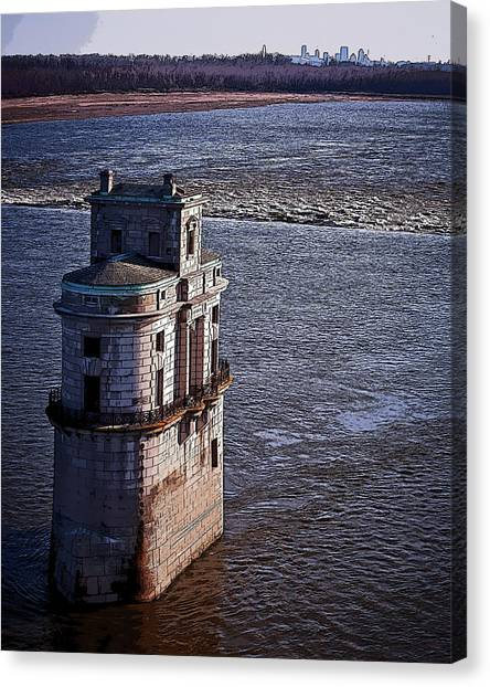 Chain Of Rocks East Water Tower Canvas Print