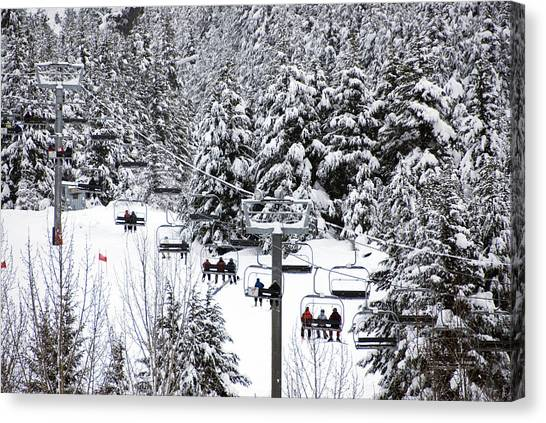 Chairlift In The Snow, Alyeska Ski Resort Canvas Print by Mark Newman