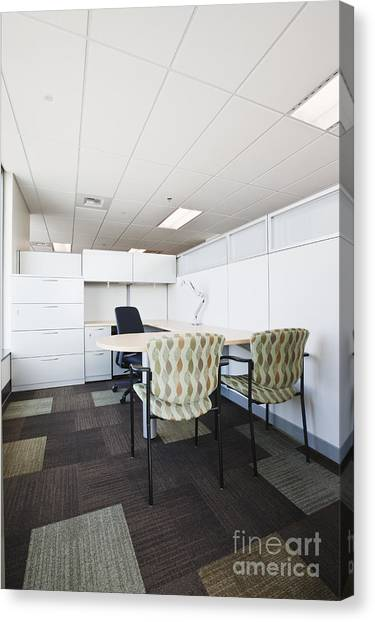 Not In Use Canvas Print - Chairs And Desk In Office Cubicle by Jetta Productions, Inc