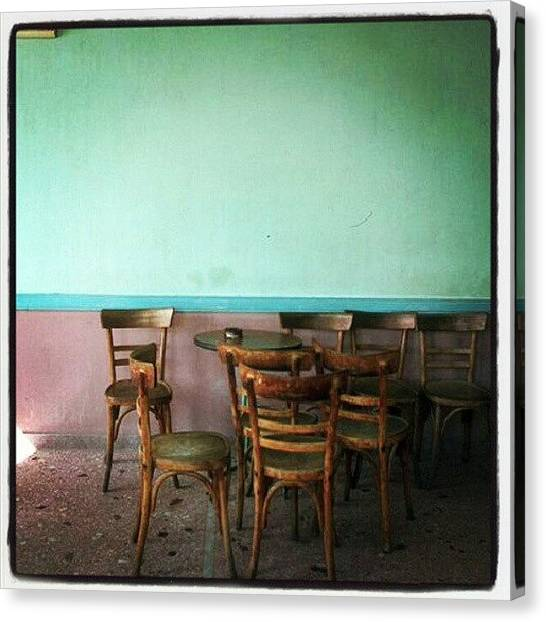 Tables Canvas Print - #chairs At A #table In #santorini by Christoph Hensch