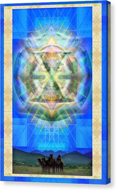 Chalice Star Over Three Kings Holiday Card Xabrti Canvas Print by Christopher Pringer