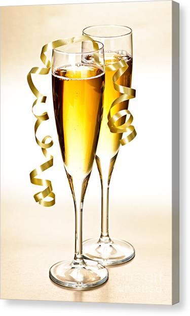 Flutes Canvas Print - Champagne Glasses by Elena Elisseeva