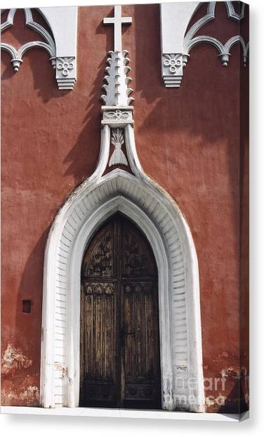 Chapel Entrance In White And Brick Red Canvas Print