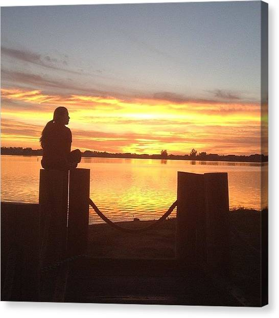Lake Sunrises Canvas Print - Charity! #run #walk #sunrise #windsor by Maddie Wong