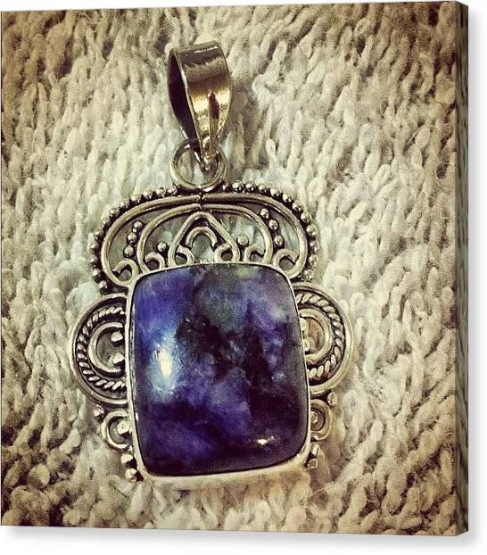 Gemstones Canvas Print - Charoite Ornate Sterling Silver Pendant by Robyn Padden