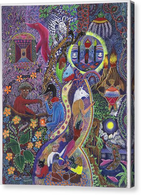 Canvas Print featuring the painting Chasnamancho Umanki by Pablo Amaringo