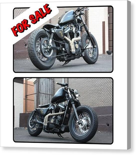 Harley Davidson Canvas Print - Check Craig's List Ad For Full Details by Omar Elsebai