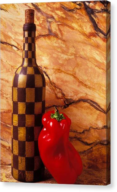 Checker Canvas Print - Checker Wine Bottle And Red Pepper by Garry Gay