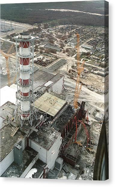 Chernobyl Reactor Clear-up Canvas Print by Ria Novosti