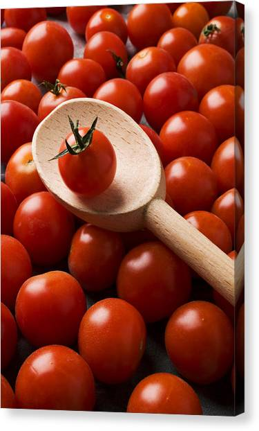 Cherry Tomato Canvas Print - Cherry Tomatoes And Wooden Spoon by Garry Gay