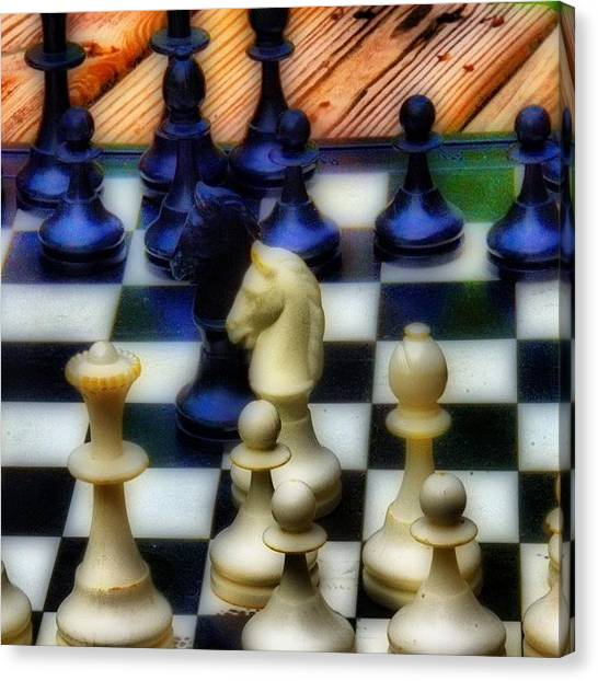 Knights Canvas Print - Chess Anyone? #chess #knights #games by Vanessa C