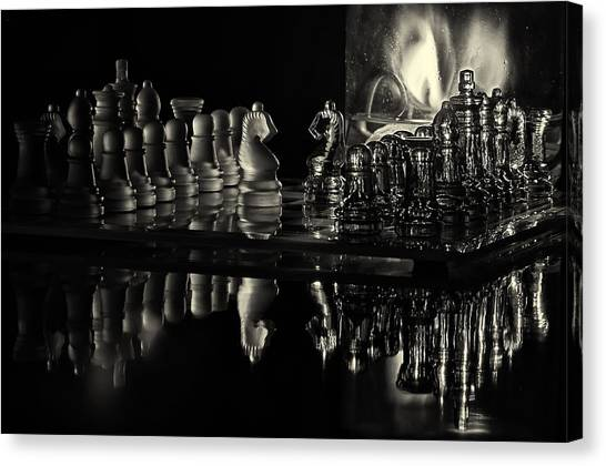 Chess By Candlelight Canvas Print