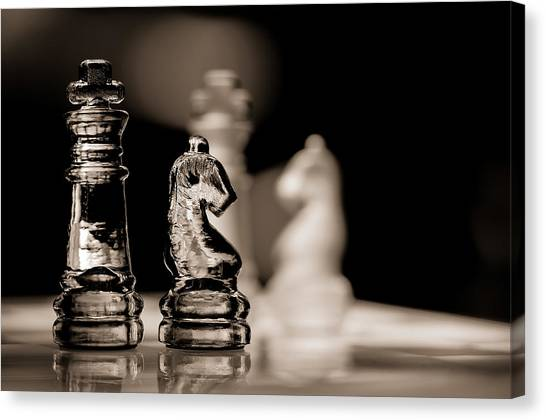 Chess King And Knight Canvas Print