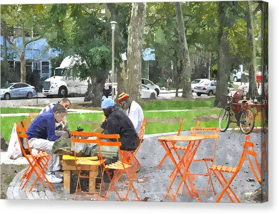 Chess Players In Clark Park Canvas Print
