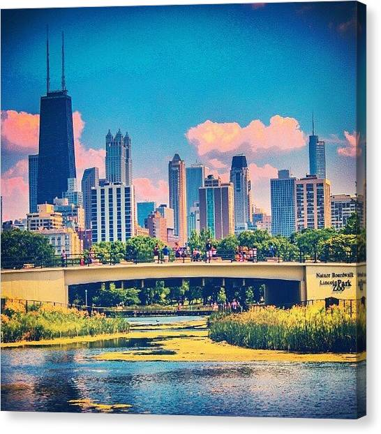 University Of Illinois Canvas Print - Chicago 2 by San Gill