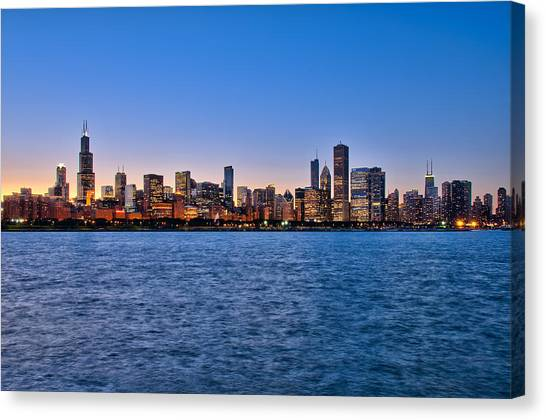 Chicago At Sunset Canvas Print