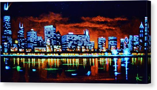 Chicago By Black Light Canvas Print