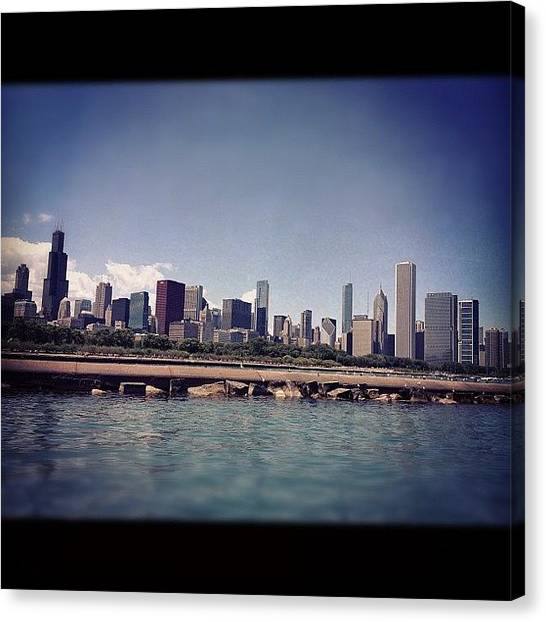 University Of Illinois Canvas Print - Chicago City Scape by Kristin Walsh