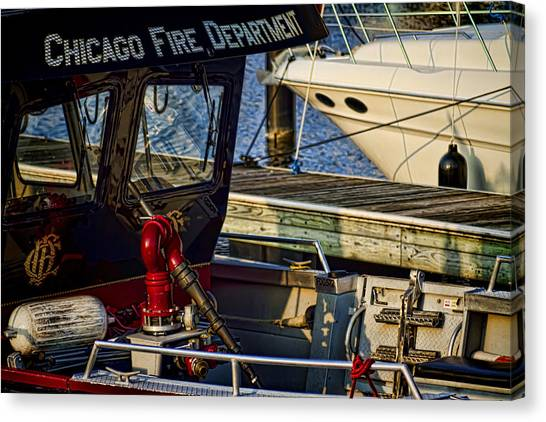 Chicago Fire Canvas Print - Chicago Fire Department Boat  by Sven Brogren