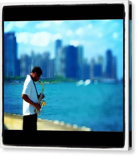 Saxophones Canvas Print - #chicago #sax #saxophone #lake #city by David Sabat